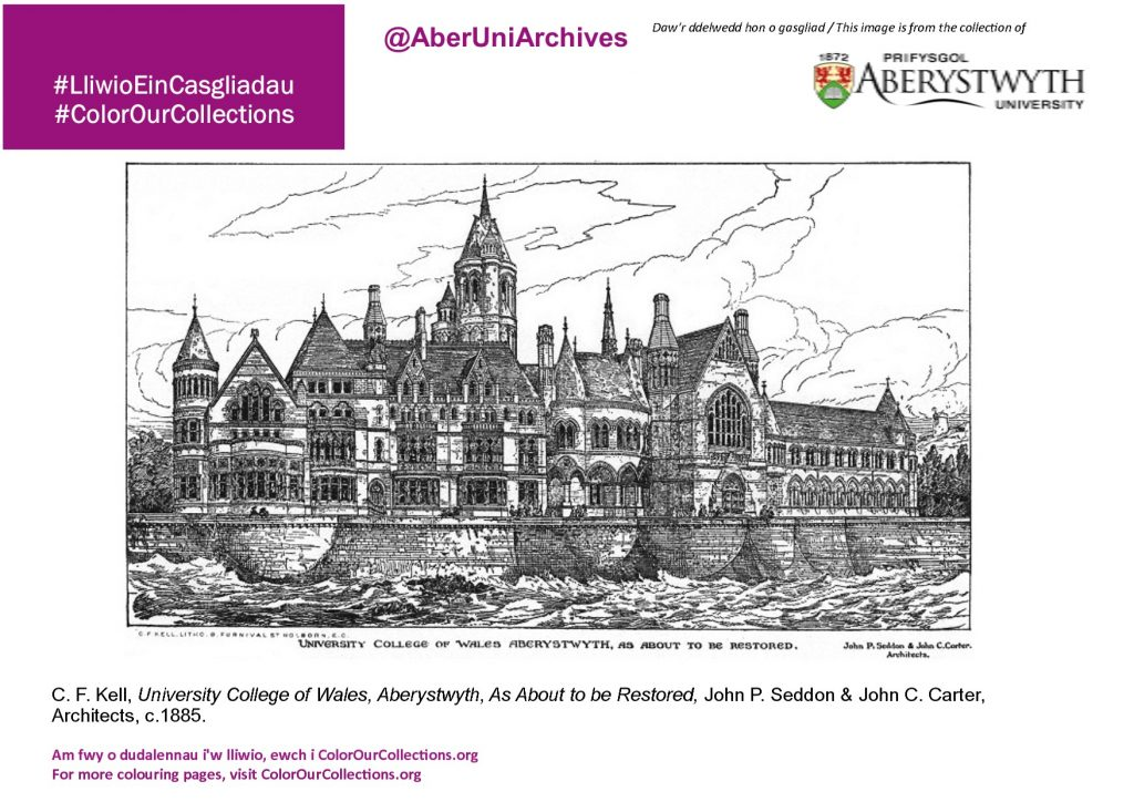 Black and white line drawing of Aberystwyth Old College - a page from the Colour Our Collections book