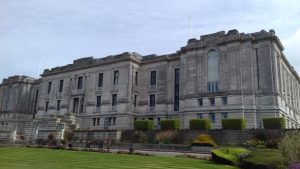 Photo of the front of the National Library of Wales Aberystwyth